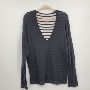 CHANEL cotton sweater navy & stripes logo banding